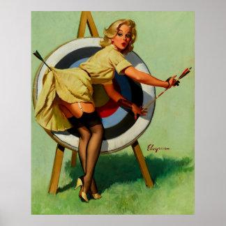 Chica modelo del tiro al arco de la blanco de Gil Poster
