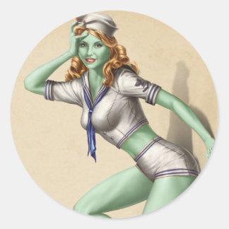 Chica modelo del zombi militar del vintage etiquetas redondas