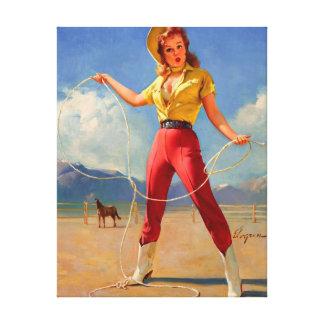Chica modelo occidental del rancho de Gil Elvgren  Impresion De Lienzo