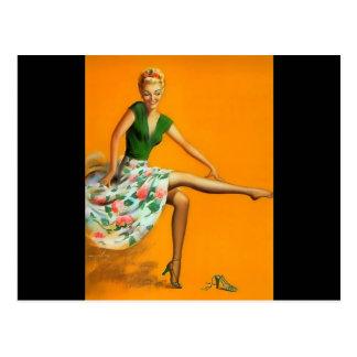 Chica modelo retro de Billy DeVorss del vintage Postal