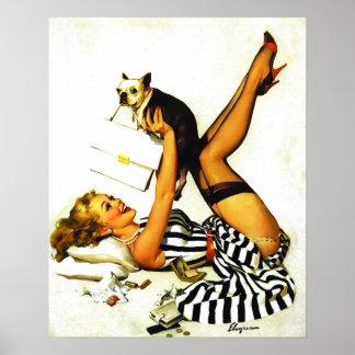 Chica modelo retro de Gil Elvgren del vintage con Póster