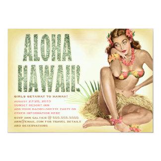 Chica modelo retro de Hawaii de la hawaiana 311 Invitacion Personalizada