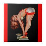 Chica modelo retro de Peter Driben del vintage en  Azulejos Cerámicos