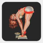 Chica modelo retro de Peter Driben del vintage en Colcomanias Cuadradas Personalizadas