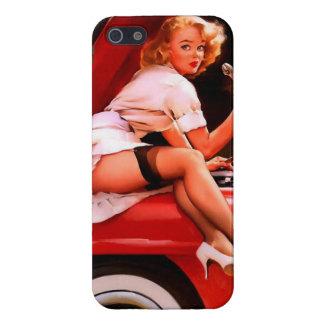 Chica modelo retro del mecánico de coche de Gil El iPhone 5 Carcasas