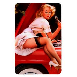 Chica modelo retro del mecánico de coche de Gil El Imanes Rectangulares