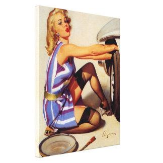 Chica modelo retro del mecánico de coche de Gil El Impresion De Lienzo