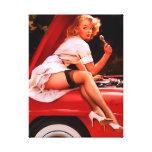 Chica modelo retro del mecánico de coche de Gil El Impresiones En Lona