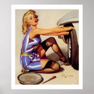 Chica modelo retro del mecánico de coche de Gil El Poster