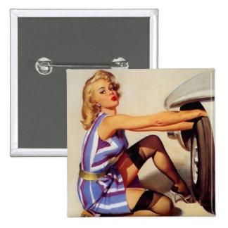 Chica modelo retro del mecánico de coche de Gil El Pins