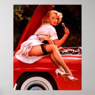Chica modelo retro del mecánico de coche de Gil El Póster
