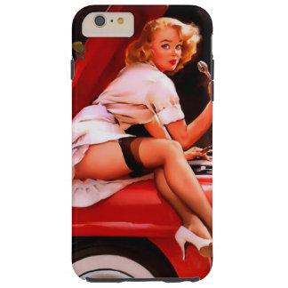 Chica modelo retro del mecánico de coche de Gil Funda De iPhone 6 Plus Tough