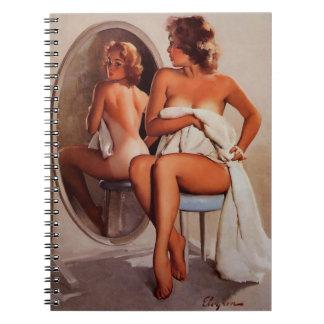 Chica modelo retro del moreno de Gil Elvgren Sun d Cuaderno