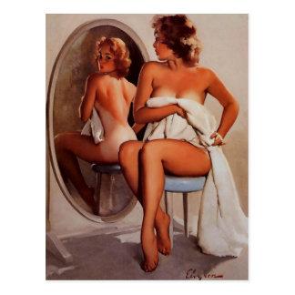 Chica modelo retro del moreno de Gil Elvgren Sun d Tarjetas Postales