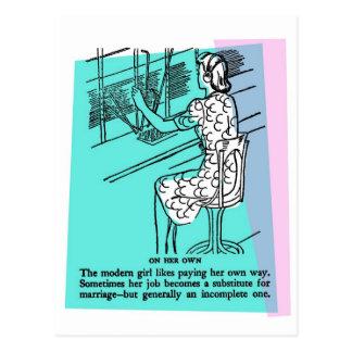 Chica moderno del trabajo del kitsch retro del postal