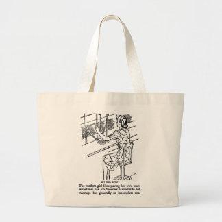Chica moderno del trabajo del kitsch retro del vin bolsa tela grande