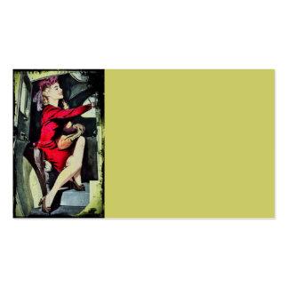 Chica moderno en nilones tarjetas de visita