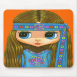 Chica Mousepad del Hippie del flower power