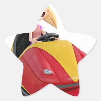 Chica n del dibujo animado un coche de parachoques pegatina en forma de estrella