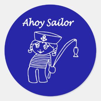 Chica náutico del marinero pegatina redonda