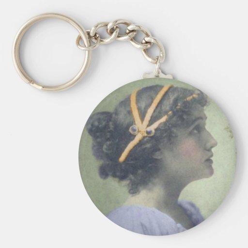 Chica neoclásico llavero redondo tipo pin