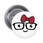 Chica Nerdy en botón de los vidrios Pin