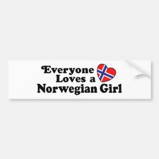 Chica noruego etiqueta de parachoque