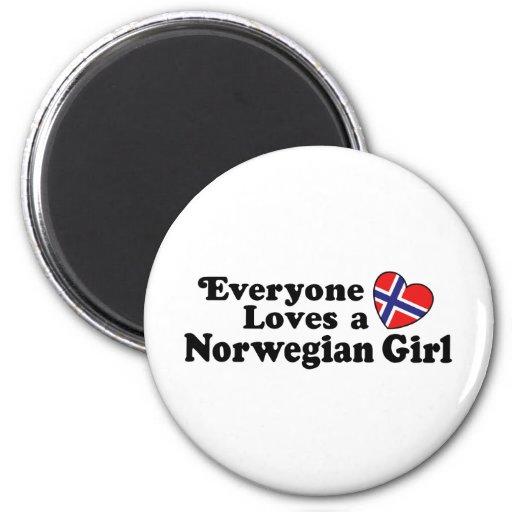 Chica noruego imán redondo 5 cm