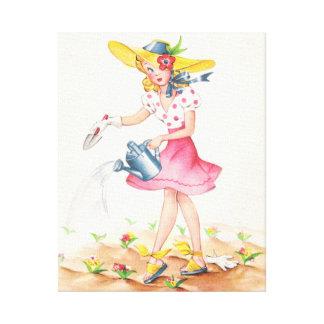 Chica nostálgico del vintage en lona envuelta jard impresiones de lienzo
