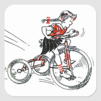 Chica nostálgico en el triciclo pegatina cuadrada