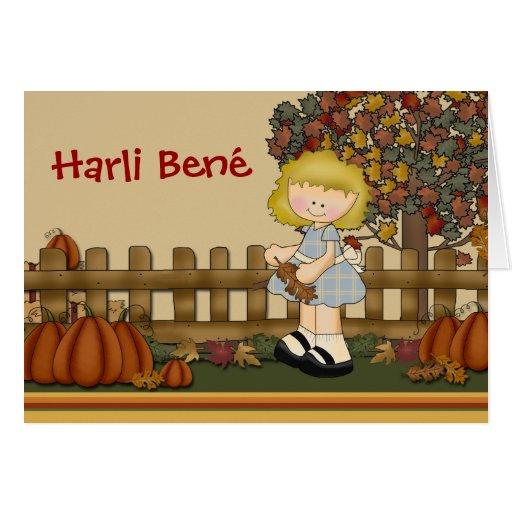 Chica Notecard del otoño