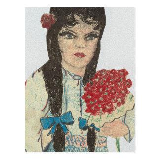 Chica observado azul cabelludo negro - 2 postales
