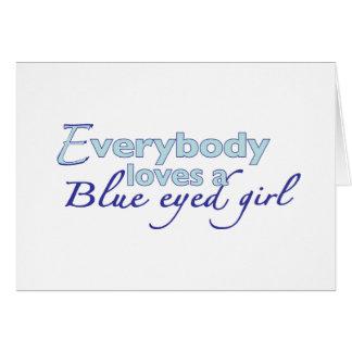 Chica observado azul tarjeta de felicitación