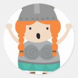 Chica-ópera-cantante de Vikingos Pegatinas Redondas