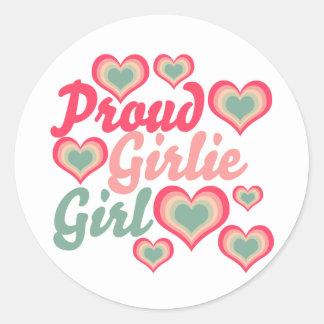 Chica orgulloso de Girlie Pegatina Redonda