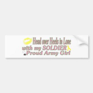 Chica orgulloso del ejército pegatina para auto