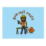 Chica oscuro de la construcción tarjetas postales