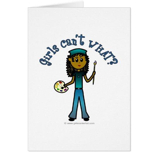 Chica oscuro del artista tarjeta de felicitación