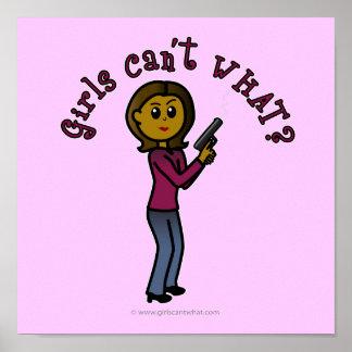 Chica oscuro del buen tirador póster
