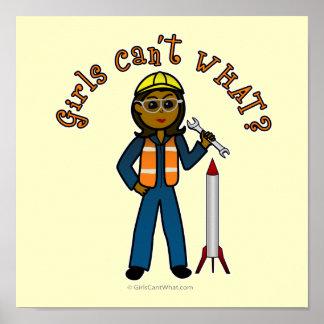 Chica oscuro del científico de Rocket Poster
