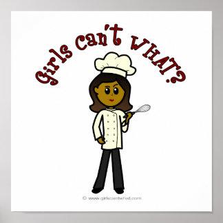 Chica oscuro del cocinero póster