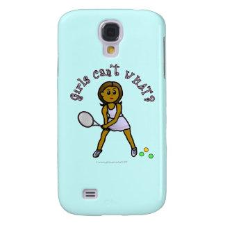 Chica oscuro del jugador de tenis