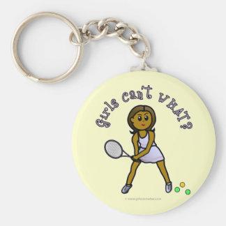 Chica oscuro del jugador de tenis llavero