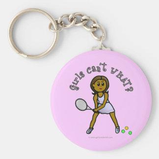 Chica oscuro del jugador de tenis llaveros