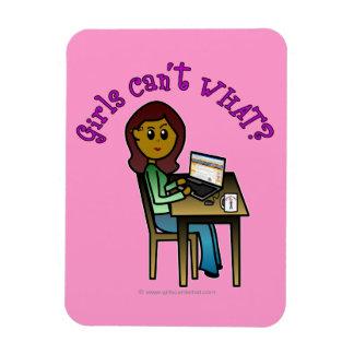 Chica oscuro del ordenador imanes flexibles