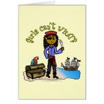 Chica oscuro del pirata tarjeta de felicitación