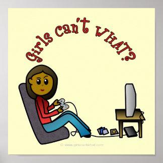 Chica oscuro del videojugador póster
