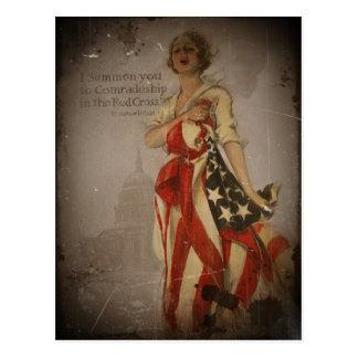 Chica patriótico cubierto en bandera postal