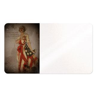 Chica patriótico cubierto en bandera tarjetas de visita