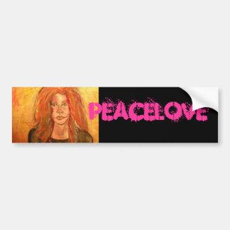 chica PeaceLove del hippie Etiqueta De Parachoque
